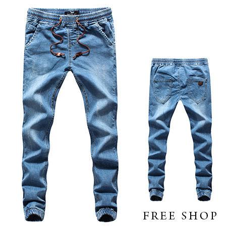 《全店399免運》Free Shop【QMD55532】單寧版牛仔彈性腰間造型抽繩皮標口袋休閒褲束口褲九分褲‧藍色