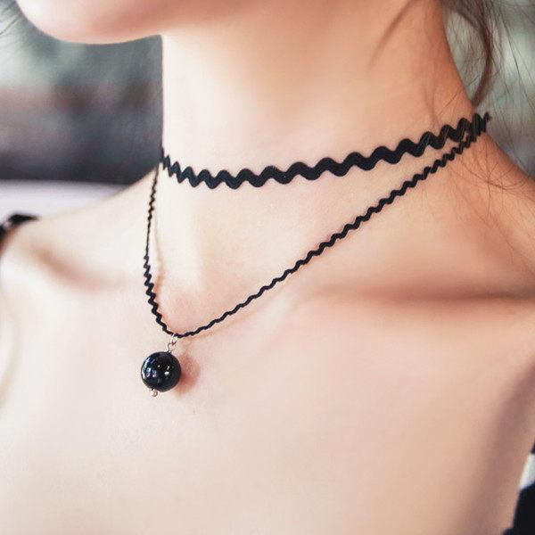 PS Mall 波浪性感黑色蕾絲超短頸鍊 珍珠雙層鎖骨鍊項鍊 ~G1798~ ~  好康折