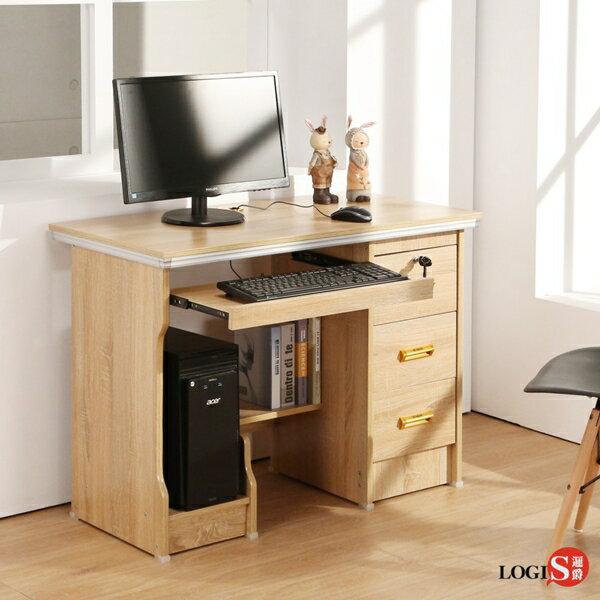 LOGIS實惠附主機架三抽電腦桌1M書桌多用途租屋族學生書桌木紋桌LS-101