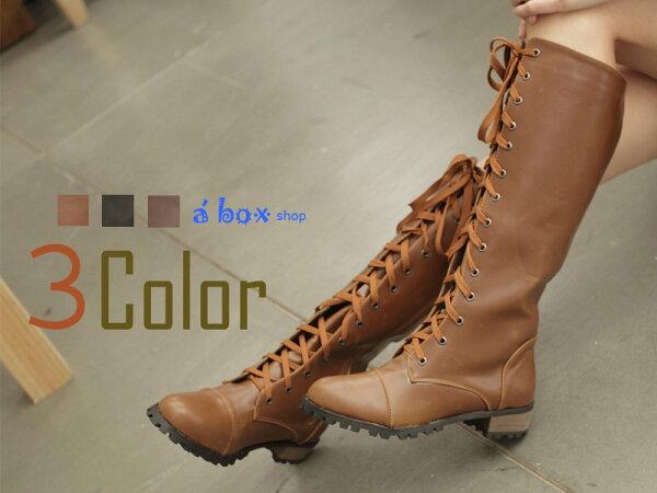 【KH2011】日韓潮流 高質感綁帶拉鍊馬汀長靴 機車靴 三色現貨