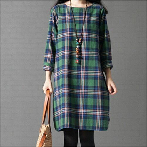 韓版寬鬆文藝範格子長袖棉麻連身裙 (2色,M~3XL) 【OREAD】 0