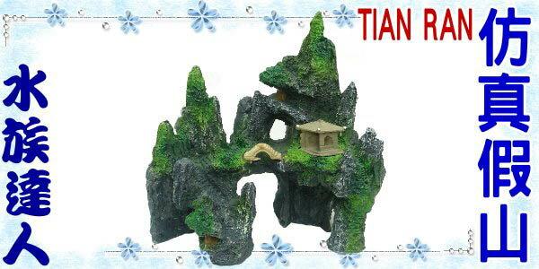 【水族達人】【裝飾品】TIAN RAN《仿真假山 YS-059D》假山/小亭/小屋/小樹/涼亭/岩山/石山