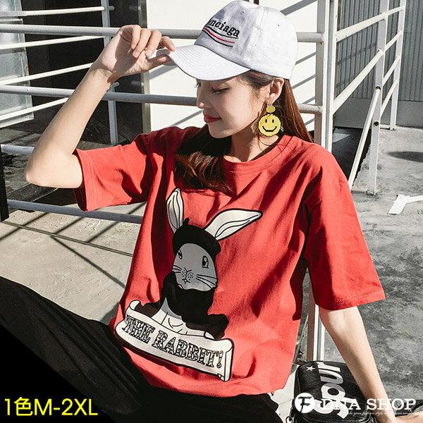 F-DNA★RABBIT兔子前後印圖圓領短袖上衣T恤(磚紅-M-2XL)【ET12716】