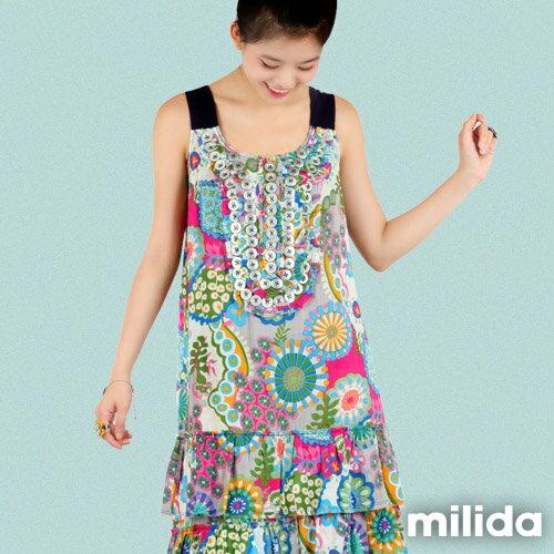【Milida,全店七折免運】-夏季商品-無袖款-長版百摺洋裝 5