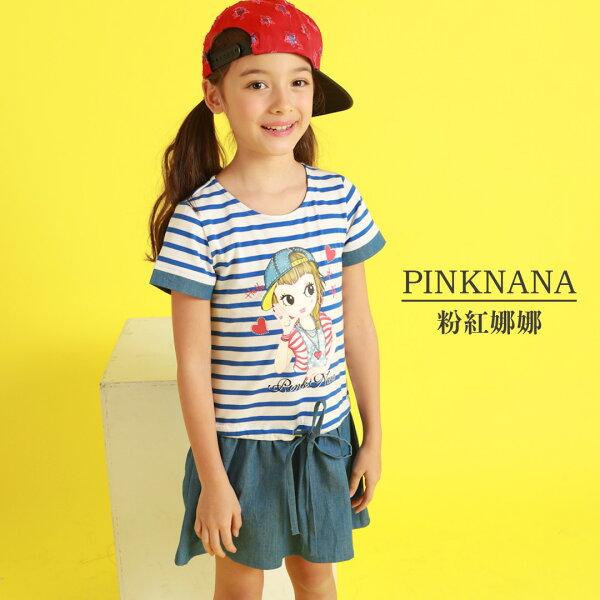 Pink Nana:PINKNANA童裝-女童條紋拼接牛仔洋裝36119