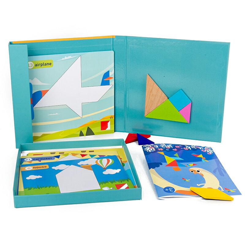 磁力拼圖 兒童木質磁性七巧板教具智力磁力拼圖幼稚園學生用早教玩具【xy5839】