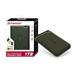 創見 Transcend 1TB USB3.0 StoreJet 25M3隨身硬碟(軍綠色) 產品型號: TS1TSJ25M3G