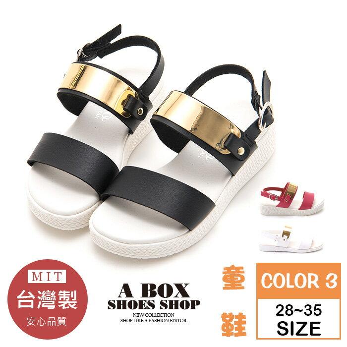 【AN3738】(童鞋28~35) MIT台灣製 皮革視覺金屬片 魔鬼氈穿拖 一字涼鞋 親子鞋 3色