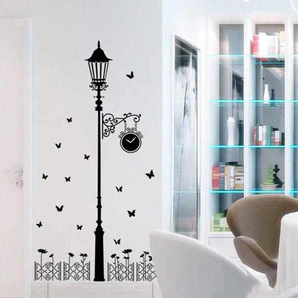 BO雜貨【YV0002】DIY可移動 時尚組合壁貼 居家裝飾牆壁貼紙 創意壁貼 黑色路燈