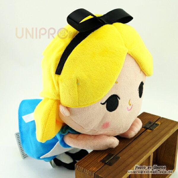 【UNIPRO】迪士尼正版愛麗絲公主25公分趴姿大頭小身桌緣絨毛玩偶娃娃艾莉絲