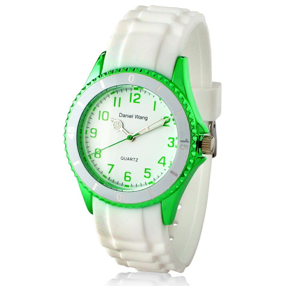 Daniel Wang 3150 炫光雙圈造型矽膠中性小型腕錶-白 2