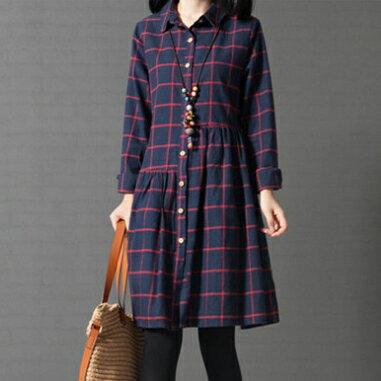 全店65折滿$599免運 寬鬆格子純棉襯衫裙洋裝 (2色,M~2XL) - ORead 自由風格 3