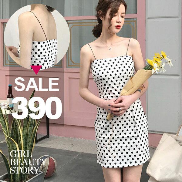 SISI【D8080】性感渡假風露肩細間吊帶平口修身顯曲線包臀水玉點點印花連身裙洋裝