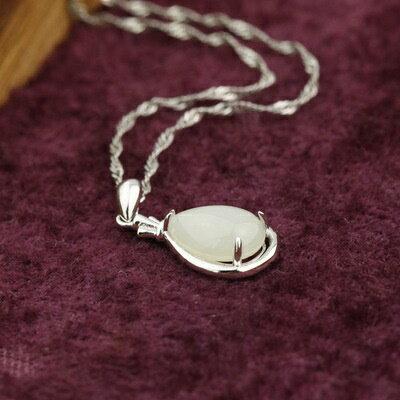925純銀項鍊 和闐玉吊墜~簡約 甜美可愛日情人節 女飾品2色73de37~ ~~米蘭 ~