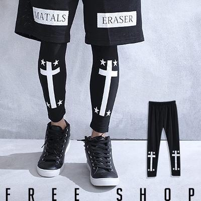 ~全店399~Free Shop~QSPG2313~ 潮流系十字架星星印花彈性棉質內搭長褲