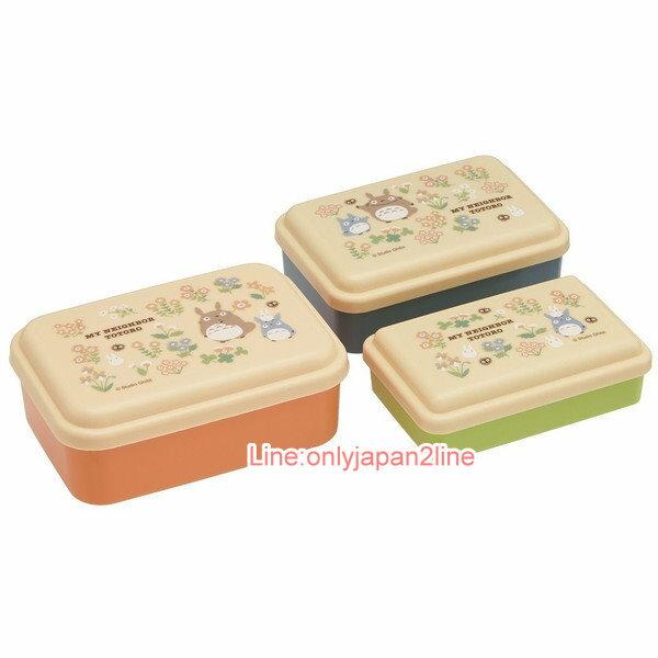 【真愛日本】17030300032日本製3入收納盒-龍貓花園米  龍貓 TOTORO 豆豆龍  便當盒 保鮮盒