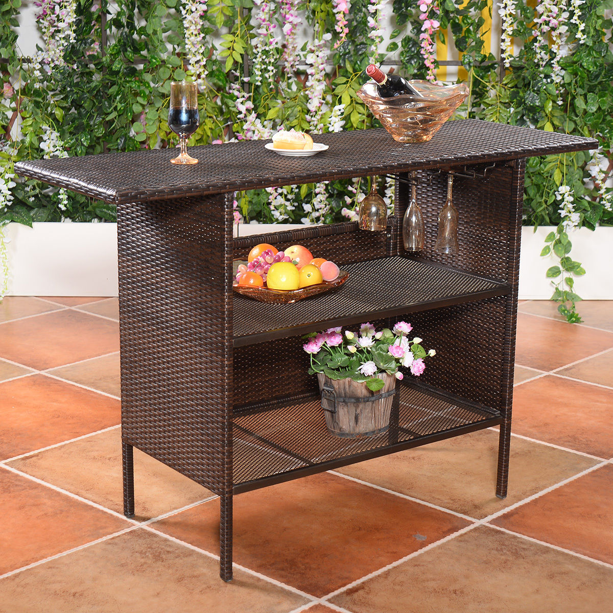 Costway: Costway Outdoor Rattan Wicker Bar Counter Table