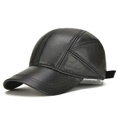 鴨舌帽真皮棒球帽-加厚護耳保暖羊皮男帽子73rq7【獨家進口】【米蘭精品】