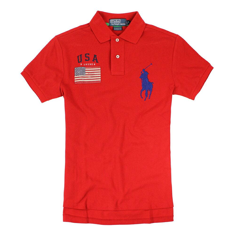 美國百分百【全新真品】Ralph Lauren Polo衫 RL 短袖 上衣 Polo 大馬 紅 美國 國旗 男 XS C255
