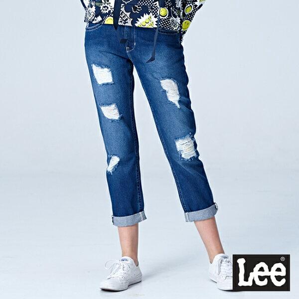Lee401中腰合身小直筒牛仔褲-中藍色洗水