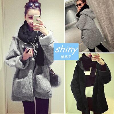 【V8399】shiny藍格子-冷冬陪伴.冬季必備羊羔毛保暖連帽長袖外套