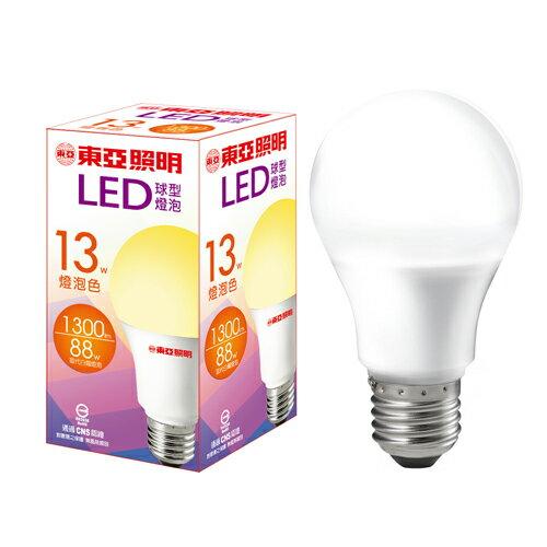★6件超值組★東亞 LED球型燈泡-燈泡色(13W)【愛買】