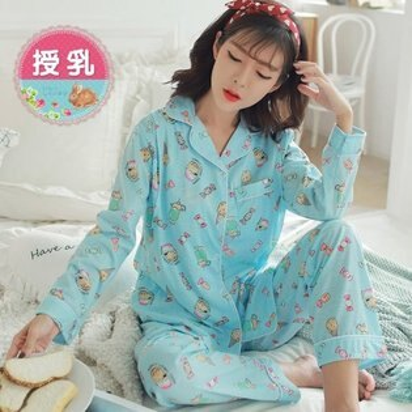 *漂亮小媽咪*ICECREAM冰淇淋甜心長袖孕婦睡衣套裝哺乳睡衣哺乳裝孕婦裝B1132