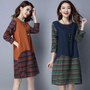 韓版 實拍 早春新款時尚休閒棉麻大碼拼接連身裙 M~2XL  現貨+預購  韓風衣舍