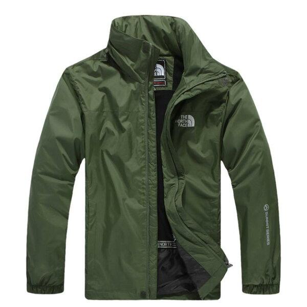 Topshop:北臉THENORTHFACE立領保暖外套防寒防風水機能衣系列風衣騎士外套軍綠
