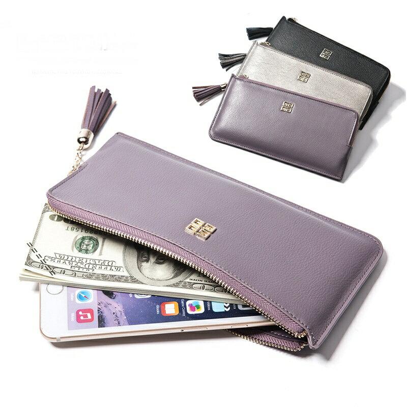 【喜番屋】日韓版真皮頭層牛皮流蘇拉鍊女士拉鍊皮夾皮包錢夾零錢包可放5.5吋手機包手包手拿包長夾流行女包女夾LH322