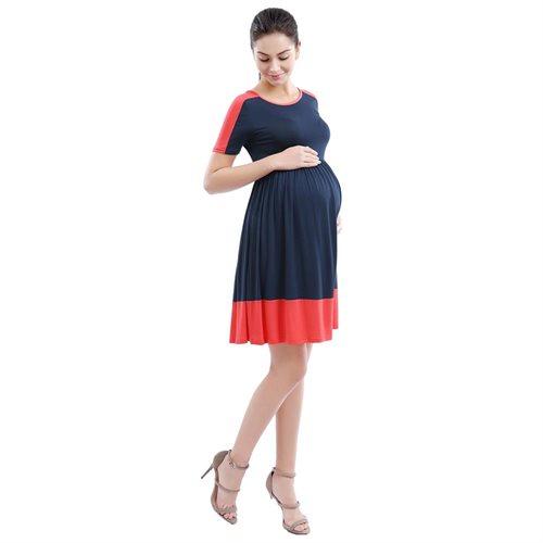 Momo Maternity Navy Colorblock Skater Dress 1