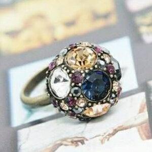 美麗大街【GJZ0251】歐美風尚蘑菇頭復古彩鑽圓球時尚百搭戒指