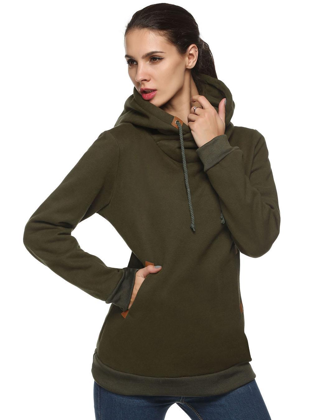 Women Long Sleeve Casual Pullover Hooded Sweatershirt Hoodies 2