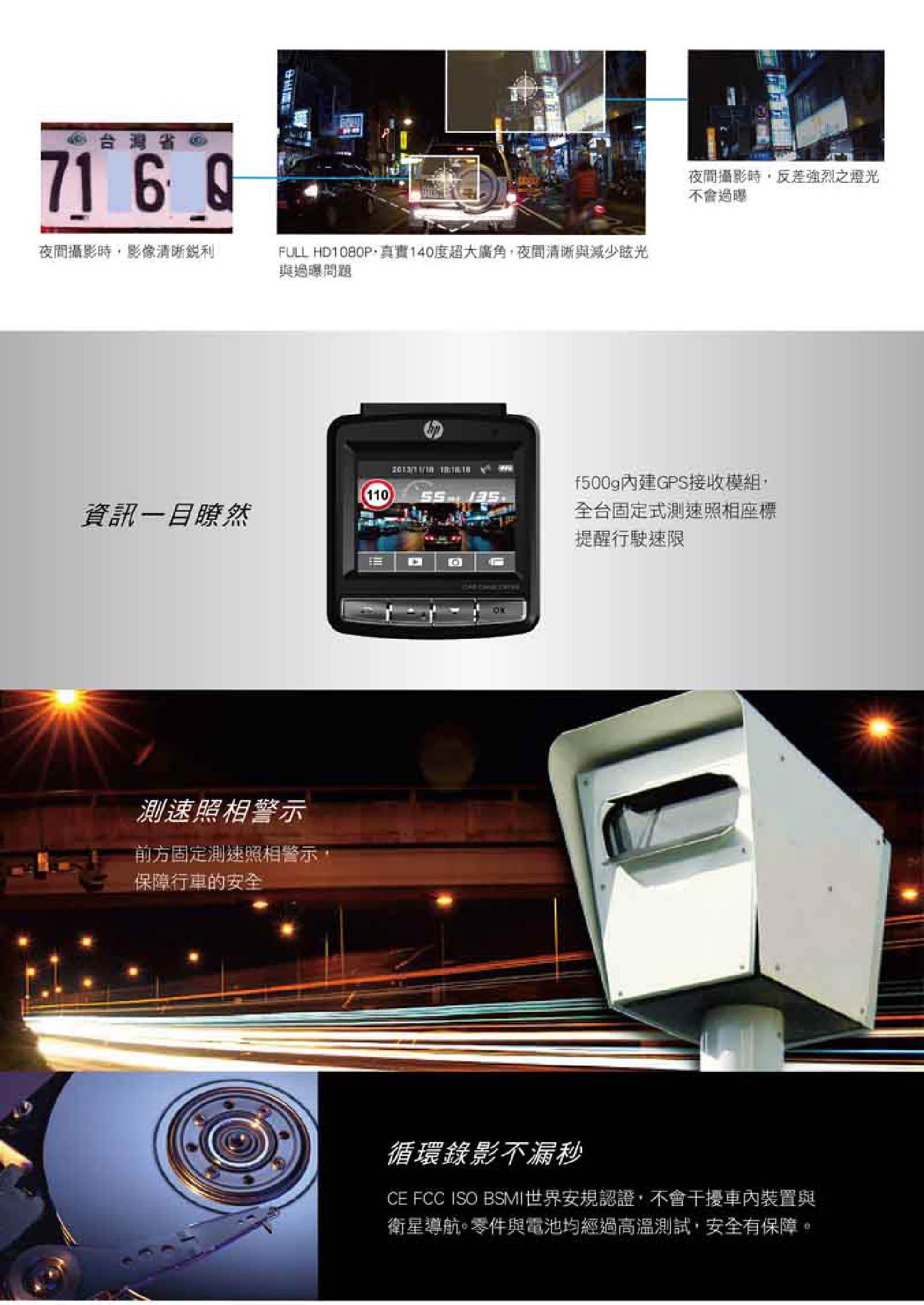 ELK-HP惠普 F500G(測速器版) 1.9大光圈超廣角行車紀錄器 高清畫質1920x1080 穩定度高(保固詳情請參閱商品描述) 4