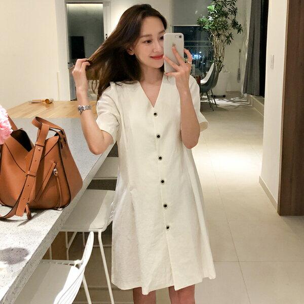 PS Mall 韓版簡約V領單排扣復古收腰 連身裙【T548】 0
