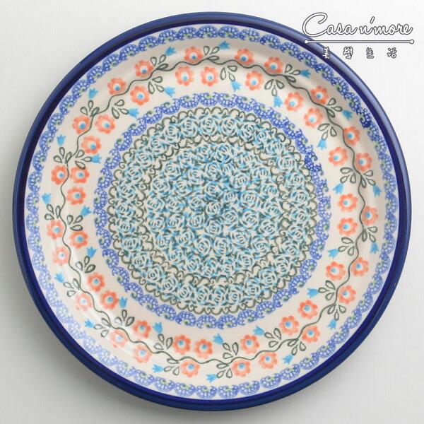 波蘭陶紅花綠蔓系列圓形餐盤陶瓷盤菜盤點心盤圓盤沙拉盤25cm波蘭手工製