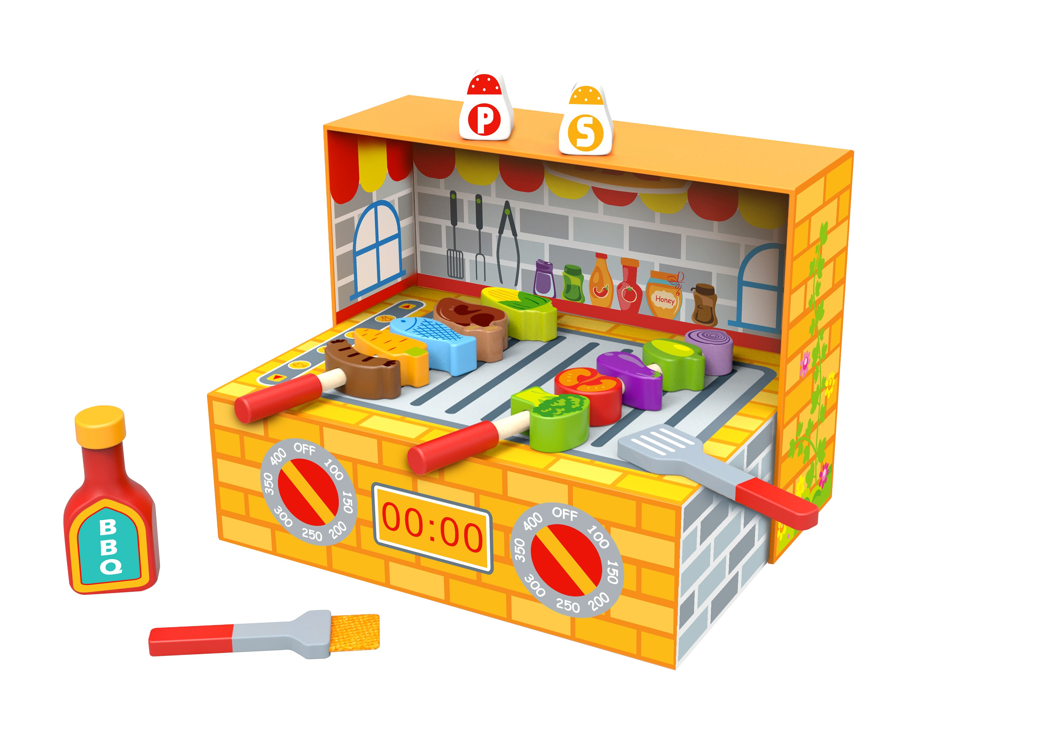Toysters Toyster S Bbq Box Wooden Cooking Toy Playset Pretend Play Toddler Kitchen Toys Unique Wood Kitchen Accessories Play Set For Boys And