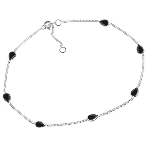 Classy Teardrop Black CZ Link .925 Silver Anklet 1