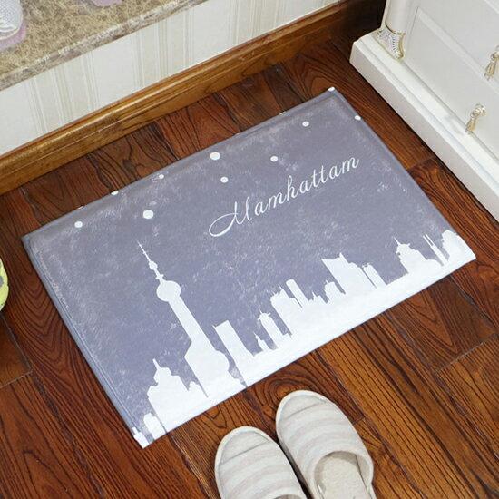 ●MY COLOR●城市剪影圖案地墊(短) 現代 臥室 客廳 廚房 門廳 地毯 門墊 腳墊 玄關 【P509】