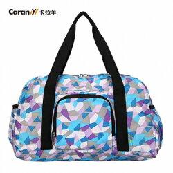 【CARANY】時尚折疊手提旅行袋/購物袋/收納包/運動袋(藍色菱形58-0045)【威奇包仔通】