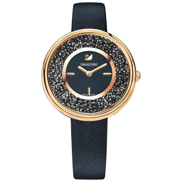Swarovski施華洛世奇CrystallinePure真皮時尚腕錶5275043黑面34mm
