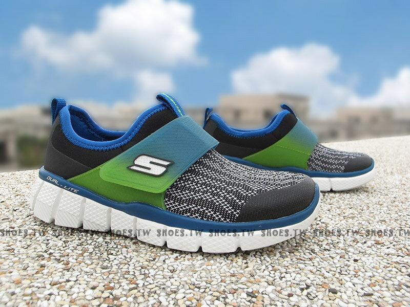[最後一雙:18cm]《下殺5折》Shoestw【97378LBKBL】SKECHERS 中童鞋 運動鞋 記憶鞋墊 黑灰藍綠 襪套 黏帶 0