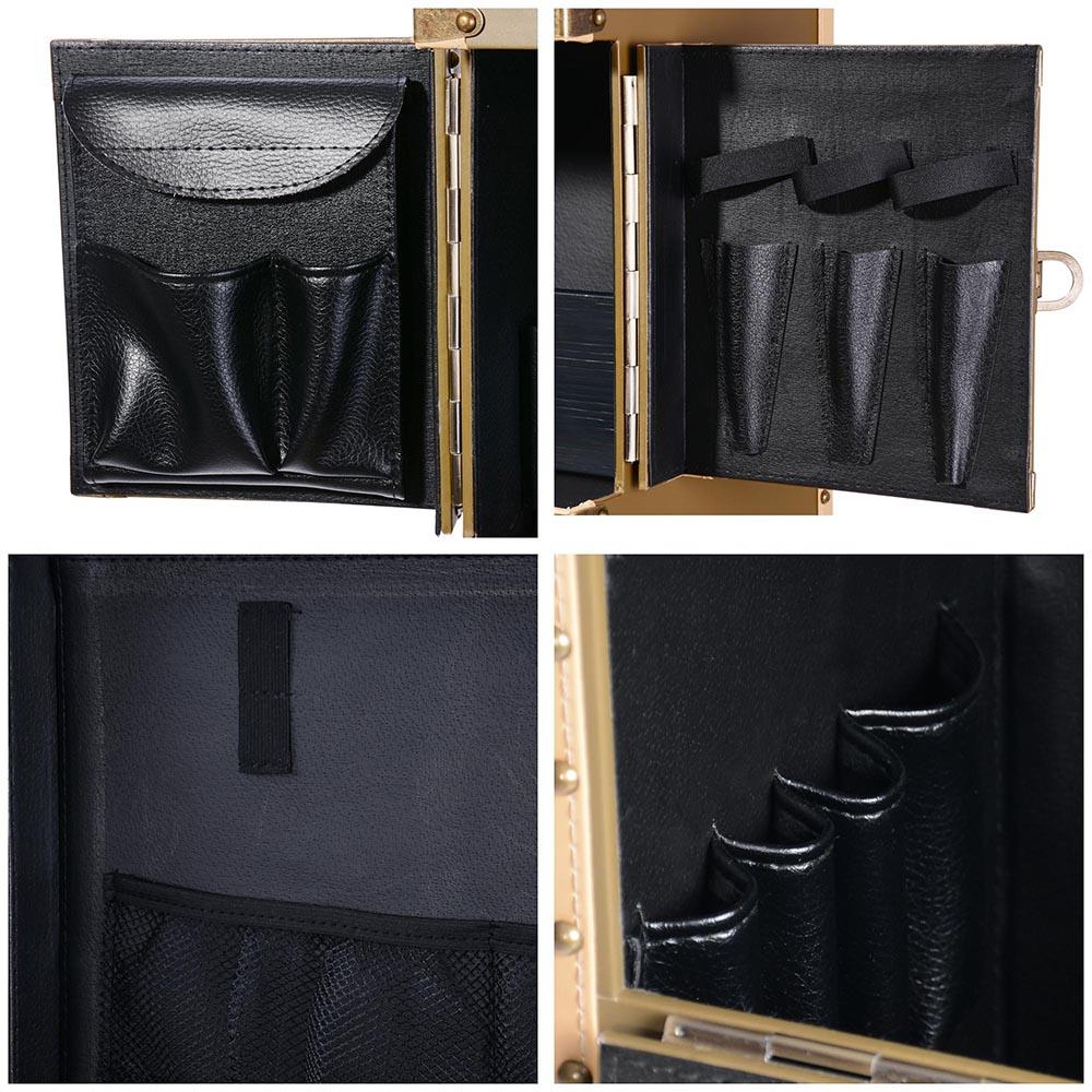 "AW® Pro XL 15"" x 10"" x 29"" Rolling Makeup Stylist Train Case Hair Salon Clipper Trimmer Bronze Box 6"