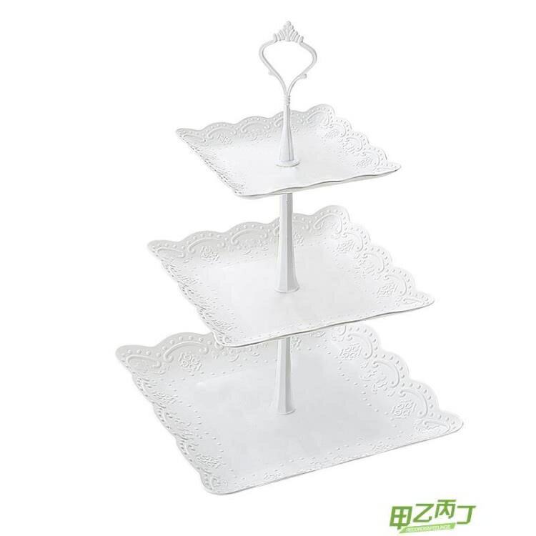 點心盤 歐式三層水果盤甜品臺多層蛋糕架干 果盤 茶點心托盤甜品臺生日趴【快速出貨】