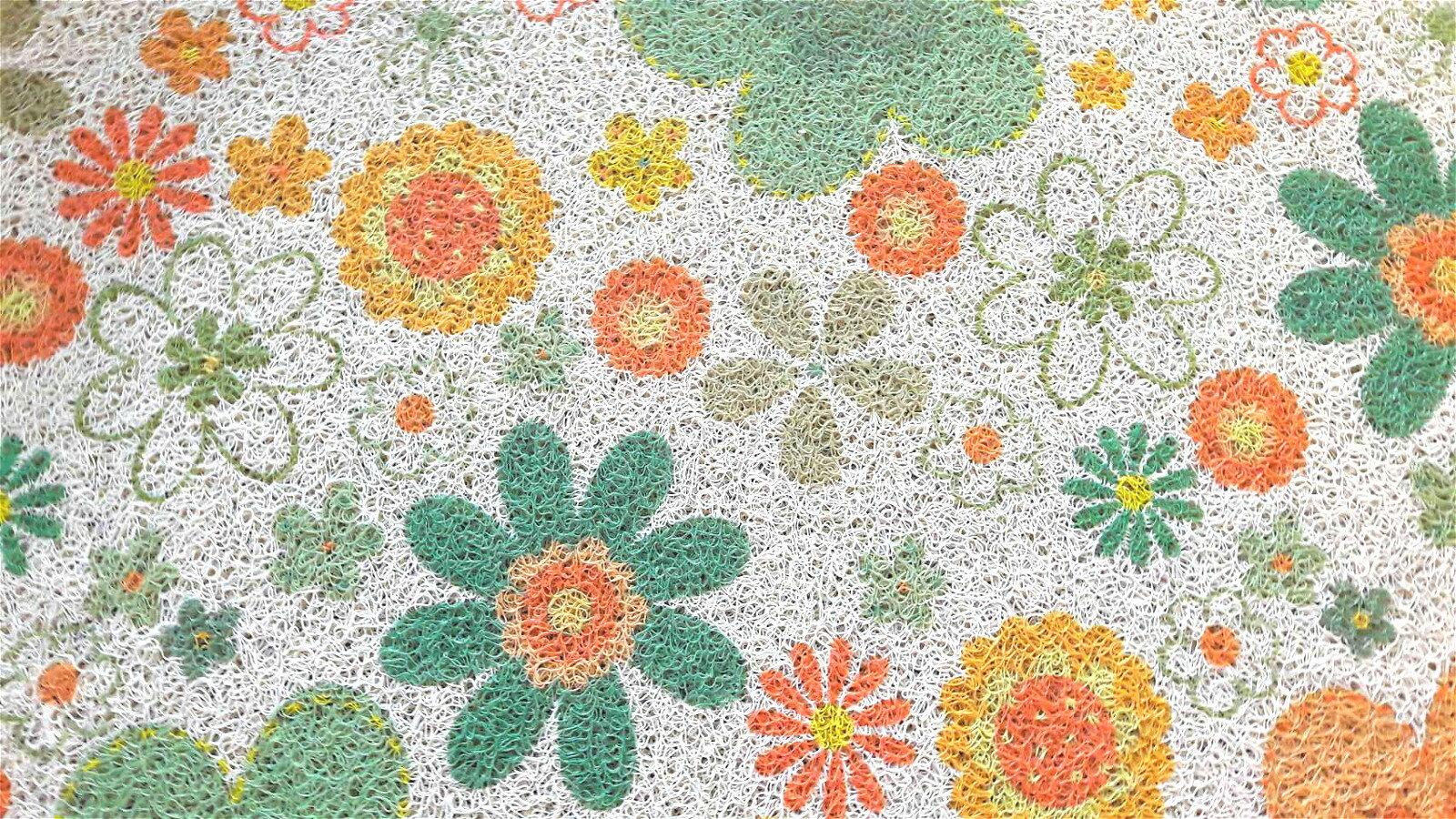 La maison生活小舖《印花刮泥繪圖地墊腳踏墊》可愛黃綠花朵繽紛圖案 耐用防滑 玄關、客廳、車裡皆適用 不同於一般刮泥圖案 放在美觀大方 地墊/軟墊/腳踏墊/止滑墊/刮墊/車用墊 40X60CM不佔空間