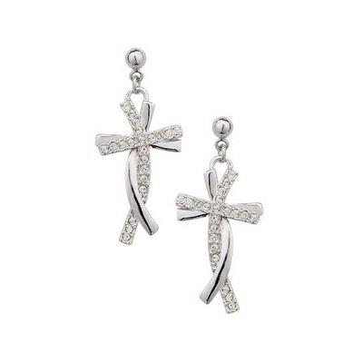 ~925純銀耳環鑲鑽耳飾~閃耀十字架 生日情人節 女飾品73gs100~ ~~米蘭 ~