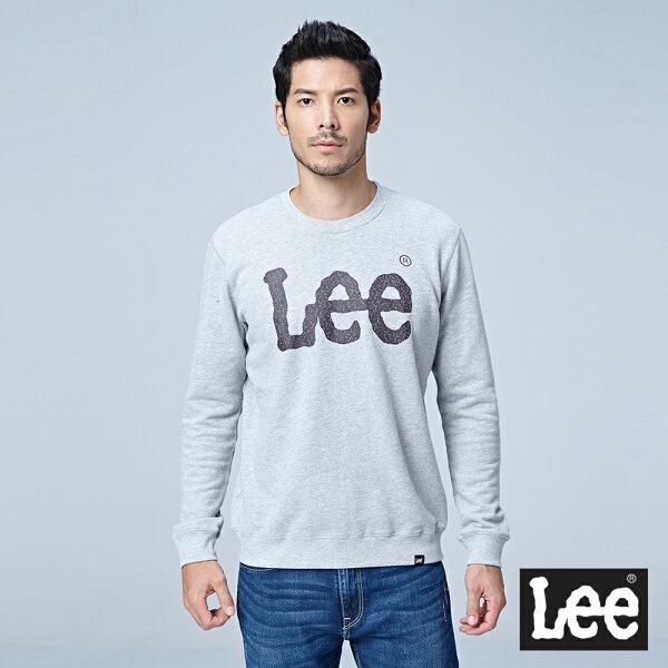 Lee大LOGO圓領厚TEERG-淺花灰色