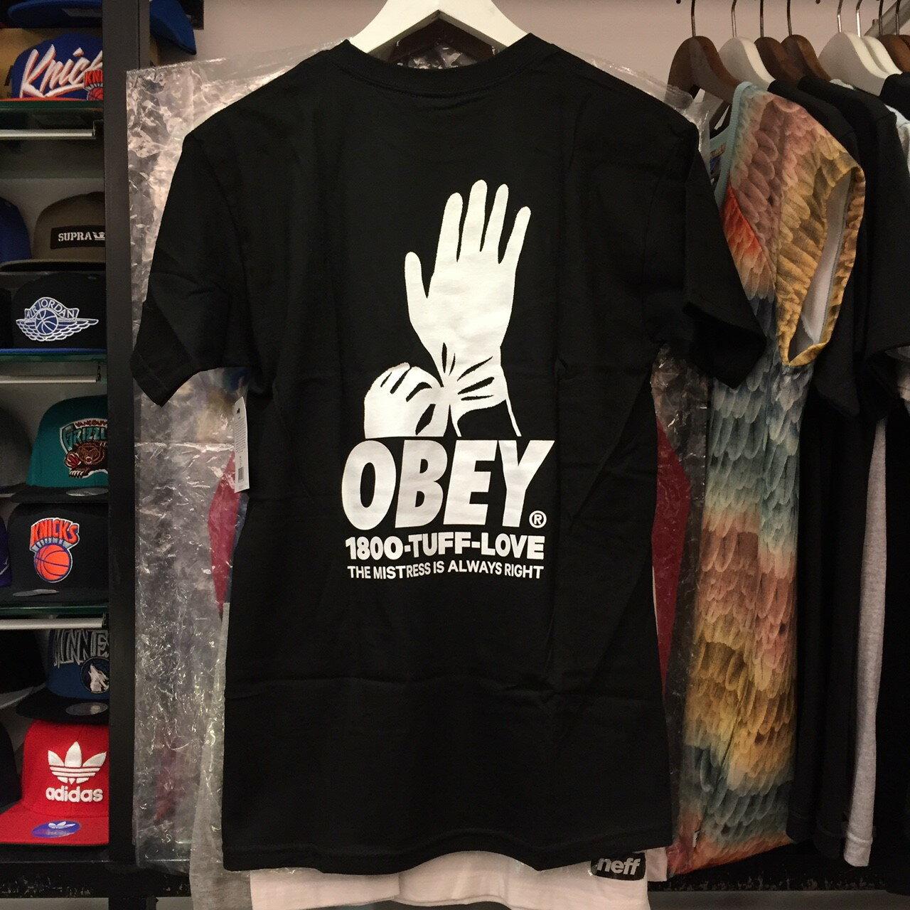 BEETLE PLUS 西門町經銷 全新 美國品牌 OBEY TUFF LOVE TEE 1800 手掌 圖樣 全黑 白字 黑白 LOGO 短T TEE 163081162BLK OB-416 1
