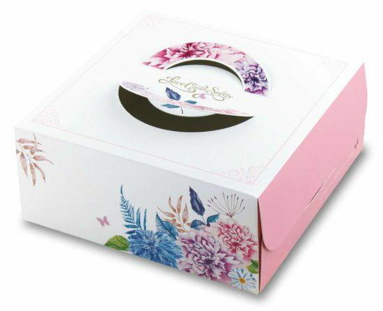 【零售量】手提布丁盒8寸愛在春天50個(附造型盤)