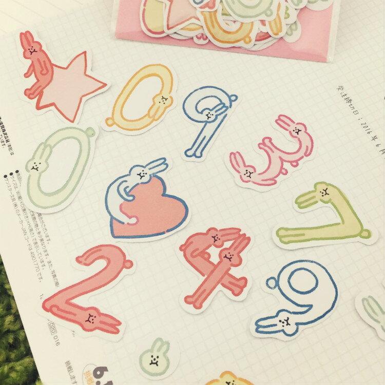 PGS7 日本卡通系列貼紙 - 兔子 數字 貼紙包 Q版貼紙 裝飾貼紙 手帳本【SHT6111】